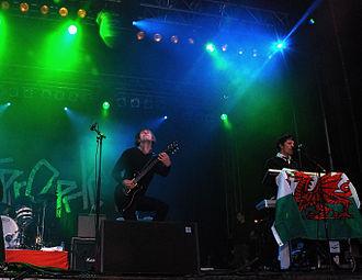Lostprophets - Mike Lewis (left), Jamie Oliver (right), performing in Pontypridd, 2007.