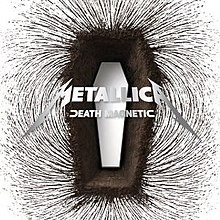 "A magnetic field around a coffin-shaped structure. Over it is the text ""Metallica - Death Magnetic""."