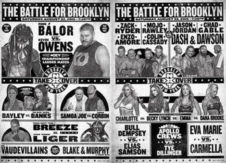NXT TakeOver: Brooklyn - Promotional poster featuring various NXT wrestlers in matches.