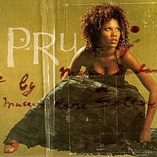 "An image of a woman with a long black dress who is hunched over. The letters ""PRU"" appear against a gold background along with scattered red cursive writing."
