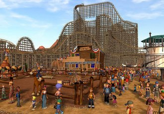 RollerCoaster Tycoon 3 - A western themed park with a wooden roller coaster.