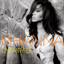 "Black-and-white picture of a woman who is sat on the floor and rests on a rock wall. Her facial expression is sad and her hair is straight, long and wavy. She wears a light blouse with a knot in the chest and ripped jeans, and in her neck a collar is visible. In front of her image, the word ""Rihanna"" is written in peach fragmented capital letters, while ""Unfaithful"" is written with the same pattern but in yellow."