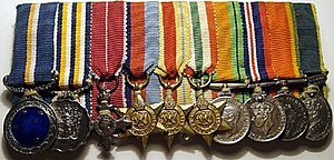 South African military decorations order of wear - Image: SA & UK group miniatures
