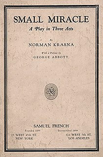 <i>Small Miracle</i> play written by Norman Krasna
