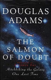 The front cover of the UK first hardcover edition of The Salmon of Doubt.