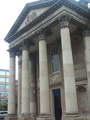 St George's Church, Belfast - The portico was originally made to order in Egypt for the 4th Earl of Bristol's palace at Ballyscullion, near Derry (1788).