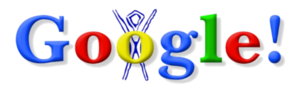 Google logo - The first ever Google Doodle celebrating Burning Man, which was used on August 30, 1998.