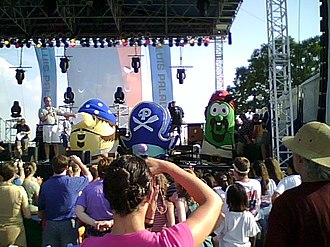 VeggieTales - The VeggieTales characters (left to right) of Mr. Lunt, Pa Grape, and Larry the Cucumber on the main stage at the Georgia International Horse Park in Conyers during the Celebrate Freedom 2007 concert on September 1, 2007 dressed in costume for their new film The Pirates Who Don't Do Anything: A VeggieTales Movie that was released on January 11, 2008.