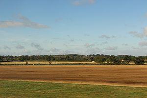 Worcestershire Parkway Regional Interchange - View of Worcester from Birmingham-Bristol Line. Worcester Royal Hospital (left), warndon villages (centre)