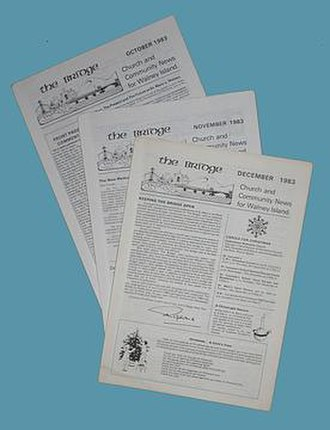 Parish magazine - The Bridge, Walney Island, Cumbria, 1983. An example of a simpler four-page publication covering both church and community news, ecumenically produced and intended for free distribution to every household in the area