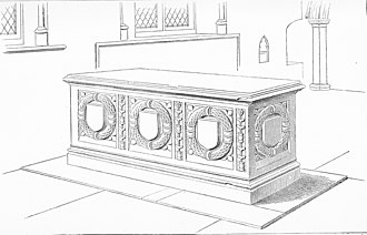 Robert Willoughby, 2nd Baron Willoughby de Broke - Drawing of Willoughby tomb at Bere Ferrers, viewed from north-west, by Roscoe Gibbs, 19th century. The tomb is of purbeck marble, the cover stone is plain but is indented in a channel around the top edge where formerly existed a brass inscribed ledger line. The flat escutcheons on the chest, encircled by classical wreaths and separated by renaissance grotto-esque candelabra-like standards, are now devoid of their original heraldic charges, thought to have been engraved on brass affixed thereon.