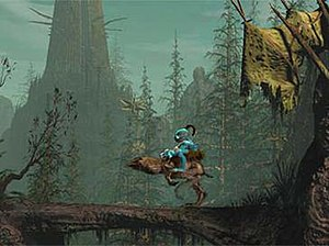 Oddworld: Abe's Oddysee - A gameplay screenshot showing Abe riding on the Elum for increased mobility