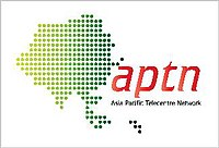 Asia-Pacific Telecentre Network logo based on a map of the Asia-Pacific Region.