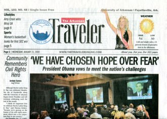 The Arkansas Traveler (newspaper) - The front page of The Arkansas Traveler
