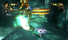 Back view of a woman in green-grey clothes swinging a staff and attacking a large winged creature with claws and a circular, toothed mouth. Game information such as lives displayed and a picture of the woman are displayed in the upper left and right corners of the screen, floating above the other elements.