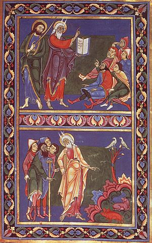 Master Hugo - A scene from the Bury St Edmunds Bible (c. 1135) by Master Hugo