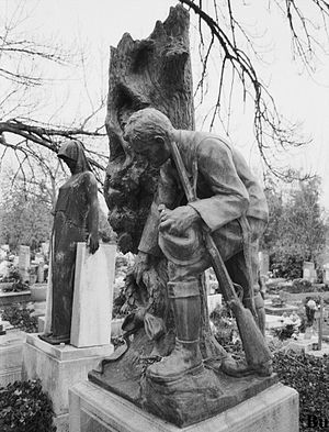 Károly Bund - Memorial sculpture on Károly Bund's grave in Budapest, placed on the second anniversary of his death by the National Forestry Association. It depicts a forester placing a wreath of remembrance on the broken stem of an oak tree.