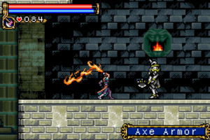 Castlevania: Circle of the Moon - In this screenshot, the player character (center) prepares to attack Cerberus (left), the guardian of a power-up.