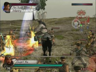 Dynasty Warriors 4 - Guan Yu attacking a squad of soldiers while mounted on a horse