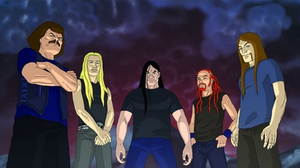 Dethklok - The fictional members of Dethklok. From left to right: William Murderface, Skwisgaar Skwigelf, Nathan Explosion, Pickles, and Toki Wartooth.