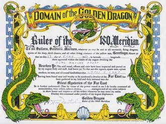 Domain of the Golden Dragon - An example of the certificate that was given to a member of the US military in 1951.
