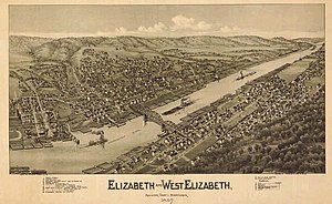 Elizabeth, Pennsylvania - Sketch of Elizabeth and West Elizabeth, circa 1897