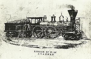 New York and New Haven Railroad - Image: Engine No 27Of N Yand NH Rail Road 1860