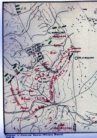 Battle of Abu Tellul - Detail of Falls Sketch Map 28 showing attacks on 1st Light Horse Brigade at Mussallabeh and Abu Tellul