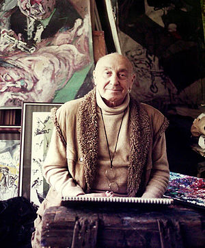 Feliks Topolski - Mr Topolski in his studio c.1986 – snapshot by Mr R.A. Redburn.