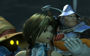 Final Fantasy IX - Vivi, Zidane, Garnet, and Steiner in a full motion video sequence.