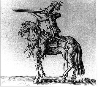 Battle of Fleurus (1622) - Cavalry arquebussiers, unlike dragoons, fired from horseback, and were a light cavalry much favoured by the Army of Flanders.