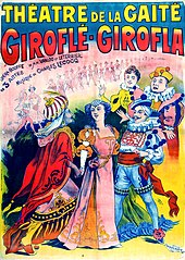 Brightly coloured theatre poster showing a young woman surrounded by extravagantly costumed men