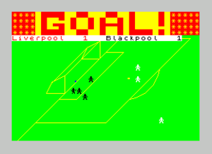 Football Manager (1982 series) - Graphical highlight section on the ZX Spectrum. A goal has just been scored