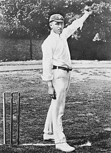 Wilfred Rhodes bowling c. 1902