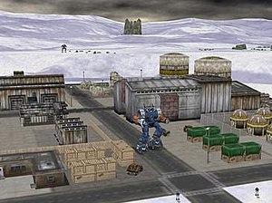 MechCommander 2 - A BattleMech attempts to sneak up behind a hostile Highlander 'Mech.