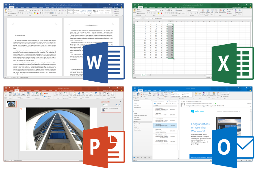 Clockwise from top left: Word, Excel, Outlook and PowerPoint