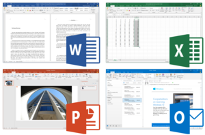 Microsoft Office 2016 applications, from top left to bottom right: Word, Excel, PowerPoint and Outlook