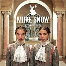 Two female children dressed in Victorian fashion pose in front of a statue in a marble hallway. A jackalope logo and the words 'Miike Snow' and 'Paddling Out' appear above their heads.