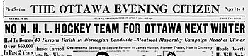 The April 7, 1934, Ottawa Citizen headline