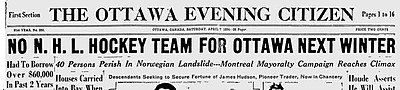 "Photograph of the front page of the Ottawa Citizen newspaper with the headline ""No NHL Hockey Team for Ottawa Next Winter"""