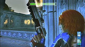 Perfect Dark Zero - The gameplay shifts into a third person perspective when the player is in cover mode. The head-up display shows Joanna's health status and remaining ammunition in the weapon's magazine.