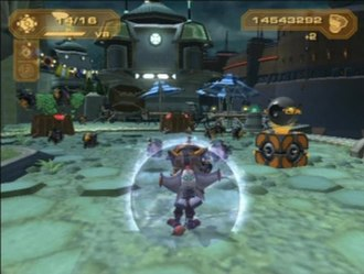 Ratchet & Clank: Up Your Arsenal - Ratchet and Clank on a planet's surface. Visible are the weapon and bolt information, and a Gadgetron vendor. The player is currently equipped with a shield barrier.