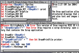 Application directory - RISC OS: !Draw's !Boot, !Run and !Help files