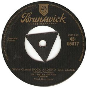 Rock Around the Clock - 1955 UK release as a Brunswick Records 45 single, 45-05317.