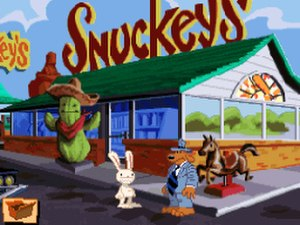 "Sam & Max Hit the Road - Sam and Max outside a ""Snuckey's""; Americana sites like this are a core part of the game's setting."