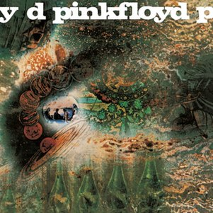 A psychedelic album cover with mostly greenish blues tones.