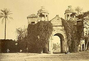 "Sikandar Bagh - The Sikandar Bagh Gateway in 1883. From Edward Hawkshaw's Album of Indian Photographs, titled: ""1883 Secundra Gate, Lucknow"""
