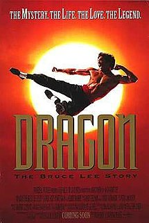 "Theatrical poster for Dragon: The Bruce Lee Story, showing Jason Scott Lee jump through the air with the sun behind him. The tagline reads ""The Mystery. The Life. The Love. The Legend."""