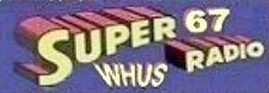 WHUS - Super67 WHUS-AM bumper sticker, c. 1963
