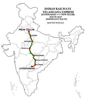 Telangana Express Route Map